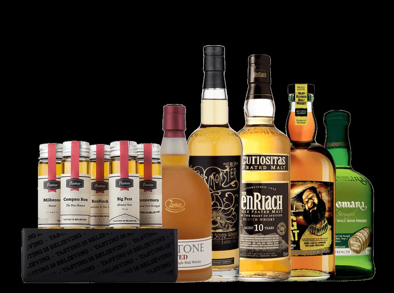 5 sample peated whisky tasting set