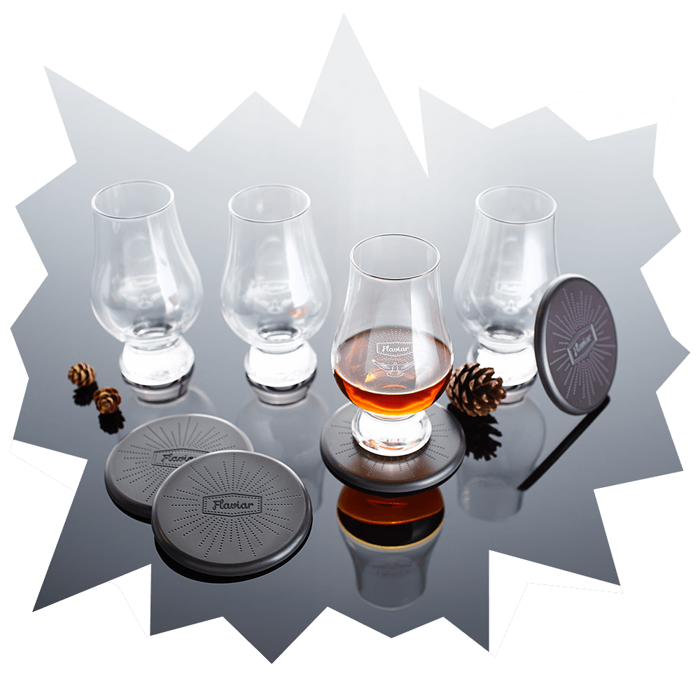 4 Flaviar Whisky Glasses & Coasters